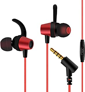 POBO イヤホン 高音質3.5mmプラグ 高遮音性 ハイレゾ マイクとリモコン付き 通話可能 iPhone/iPad/iPod/Androidに対応 インイヤーヘッドフォン (レッド)