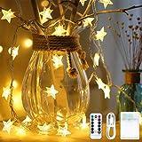 LEDイルミネーション ライト ZIATIYO 6m ストリングライト星型 可愛い クリスマス ライト 8種類の点滅モード リモコン付き フェアリーライト 写真飾りライト ledライト 部屋|アウトドア|結婚式|庭対応|誕生日
