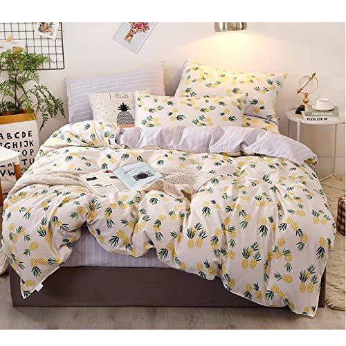 Ensemble de 4 taies d'oreiller avec Housse de Couette et draps (Color : Pineapple, Size : 1.2 m Bed)