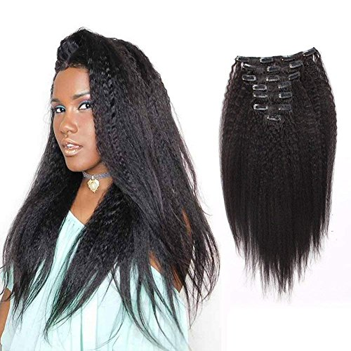 AmazingBeauty Afro Kinky Straight Clip In Extensions 8A Grade Thick Texlaxed Hair Natural Black 10-22inch 7 Pieces with 18 Clips 120g/4.2oz per Set Fit For Full Head 14 inch