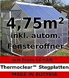 2,5-6,06m² ALU Aluminium Gewächshaus Glashaus Tomatenhaus, 6mm Hohlkammerstegplatten - (Platten Made IN Austria/EU) inkl. Fenster mit autom. Fensteröffner von AS-S, Größe:3.7m²