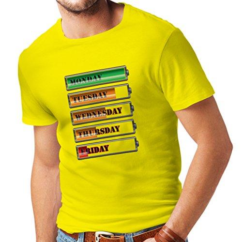 Männer T-Shirt Wöchentlicher Power Workout Zeitplan (X-Large Gelb Mehrfarben)