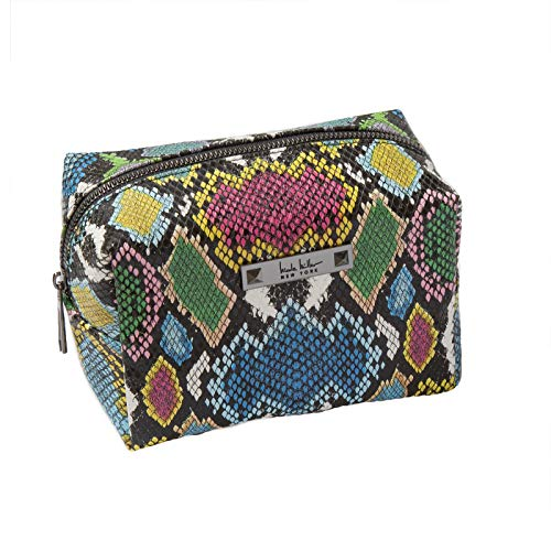 Nicole Miller Makeup Bag, Travel Toiletry Bag, and Cosmetic Bag- Multicolor Faux Leather Snakeskin Print (Loaf Bag)