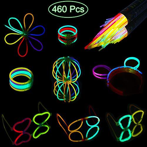 Mitening Knicklichter 200 Stück, 7 Farben Neon Leuchtstäbe Armreifen Armbänder Glowstick Partylichter inkl. 200 x 2D-Verbinder, 4 x Kreisverbinder, 4 x 7-Loch-Verbinder Hochzeit Deko Party Set