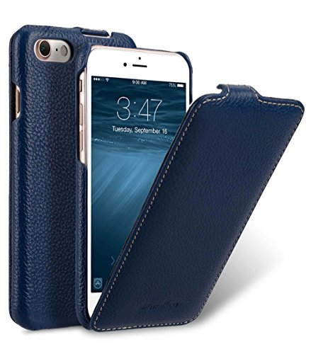 MELCKO Tasche passend für Apple iPhone SE 2020, iPhone 8 & iPhone 7 (4.7 Zoll), Hülle Außenseite aus beschichtetem Leder, Schutz-Hülle aufklappbar, Flip-Hülle, Ultra-Slim Cover, Etui, Blau