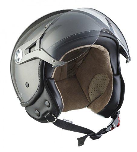 Soxon SP-325 Motorrad Jet-Helm , ECE Visier Schnellverschluss Tasche, S (55-56cm), Titan