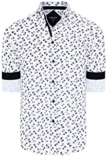 Tarocash Men's Botany Slim Floral Print Shirt Slim Fit Long Sleeve Sizes XS-5XL for Going Out Smart Occasionwear
