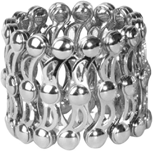 gujiu Unique Bracelet 2-in-1 Folding Retractable Ring Bracelet Stainless Steel Bracelet Ring Dual-use Bracelet (Color : Silver 2)