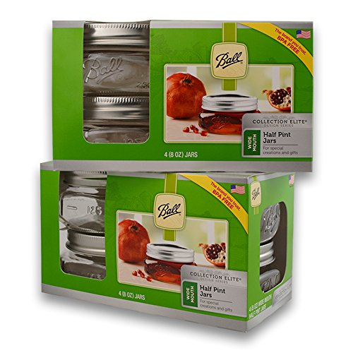 Ball (2 Packs) Wide Mouth Half Pin Mason Pint Jars-8oz-4 Per Box-Total 8, 8 oz Jars, GREEN