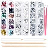 Strass art d'ongle pour nail art 3800 pcs, Cristal Mix Tailles cristaux Nail Strass Effacer pour la décoration des ongles