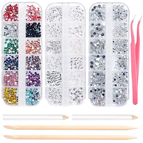 Strasssteine Nagel Kunst Nail Gems 3 Boxen, flache Nagelkristalle Klare Strasssteine Mischen Sie die Größen mit 2 Strass Picker Tool Pens, 2 Nail Wooden Sticks und 1 Pink Tweezer (3800 PCS)