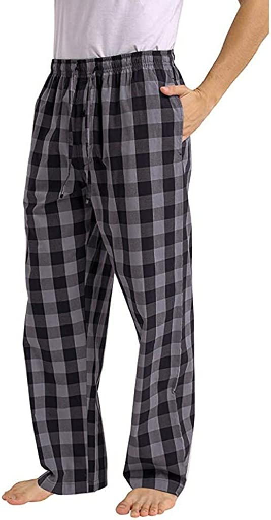 Men's Casual Yoga Pants Loose Plaid Pajama Pants Lightweight Drawstring Lounge Pants Comfortable House Trousers