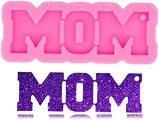 Mom Word Mother Day Gift Keychain Silicone Mold with Hole for DIY Luggage Tag Earrings Candy Jelly Shots Fondant Mold Crys...