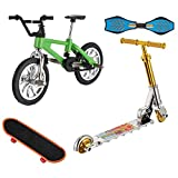 Yoeevi Mini Finger Sports Set, Skateboards Bikes(Green) Swing Boards Scooter with Box for Party Favors Educational Finger Toy(4pcs)