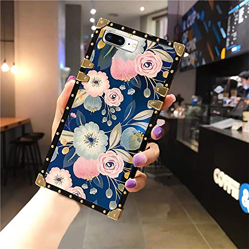 TosMemo Case for iPhone 8 Plus, iPhone 7 Plus Square Edge Case for Women Girls Luxury Cute Vintage Floral Soft TPU Protective Cover with Reinforced Corners Shockproof Cover for iPhone 7/8 Plus-Flower