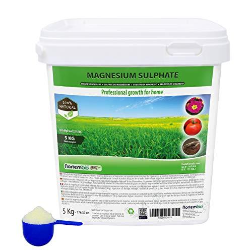 Nortembio Agro Sulfate de Magnésium Naturel 5 Kg. Engrais d'Utilisation Universelle. Améliore la Croissance des Cultures, des Jardins, des Plantes d'Intérieur et d'Extérieur.