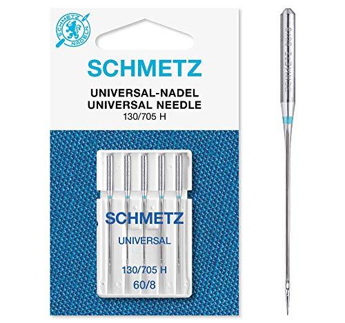 SCHMETZ Nähmaschinennadeln: 5 Universal-Nadeln, Nadeldicke 60/8, 130/705 H, auf jeder gängigen Haushaltsnähmaschine einsetzbar