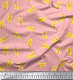 Soimoi Rosa Schweres Canvas Stoff gelbe Blume & Dots
