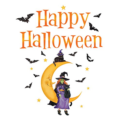 Collections Etc Halloween Witch Sitting on Moon Festive Garage Door Magnet, with Bats, Outdoor Decoration