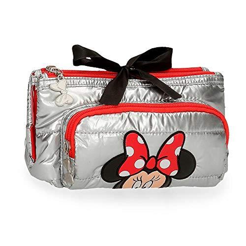 Disney Minnie My Pretty Bow Monedero Tres Compartimentos Gris 20,5x10,5x8,5 cms Poliéster