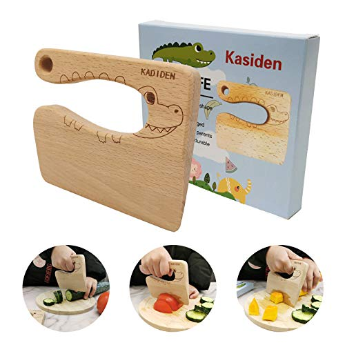 Kasiden Wooden Kids Knife for CookingKid Safe KnivesKitchen ToyChopperVegetable and Fruit Cutter For 28 Years Old