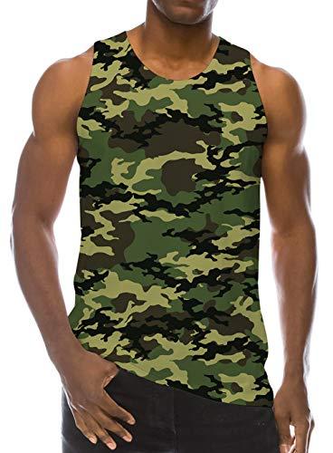 Loveternal Camo Tank Tops 3D Druck T-Shirt Trägershirt Workout Muskel Camo Sleeveless Tee Shirt L