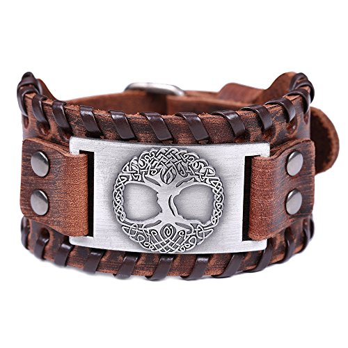 Vintage Amulet Nordic Viking Myth Tree of Life Yggdrasil Celtic Knot Metal Connector Brown Leather Bracelet (Brown Leather, Antique Silver)