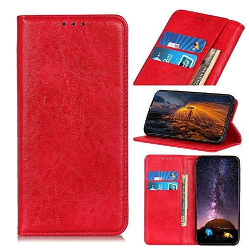 GUODONG Carcasa de telefono para Motorola E7 Magnético Crazy Horse Texture Horizontal Flip Funda de Cuero con Soporte y Ranuras para Tarjetas y Billetera Funda Trasera para Smartphone (Color : Red)