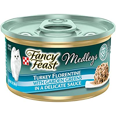 Purina Fancy Feast Wet Cat Food, Medleys Turkey Florentine With Garden Greens in a Delicate Sauce - (24) 3 oz. Cans