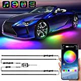 Exterior Car Underglow LED Strip Lights, Dream Color Chasing Neon Accent Lights Kit, 16 Million Colors Sound Actived Underbody System Lights - Wireless APP Control, DC 12-24V(2×47inch+2×35inch)