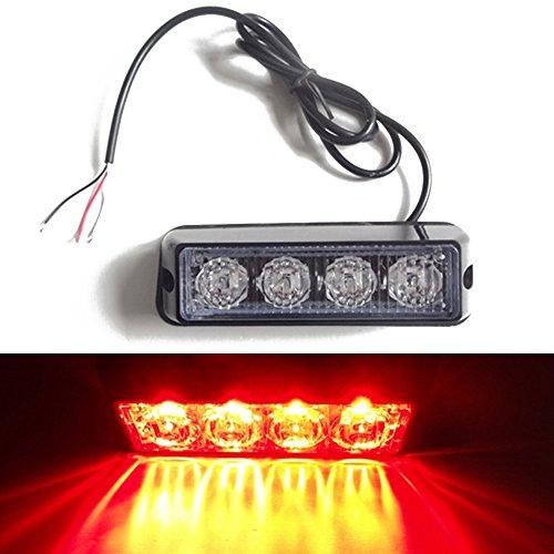 Viktion 12-24V 8W 4 LEDs Feux de Pénétration Lumière Stroboscopique Eclairage Clignotant à 17 Modes pour Voiture Camion véhicule SUV (Rouge)