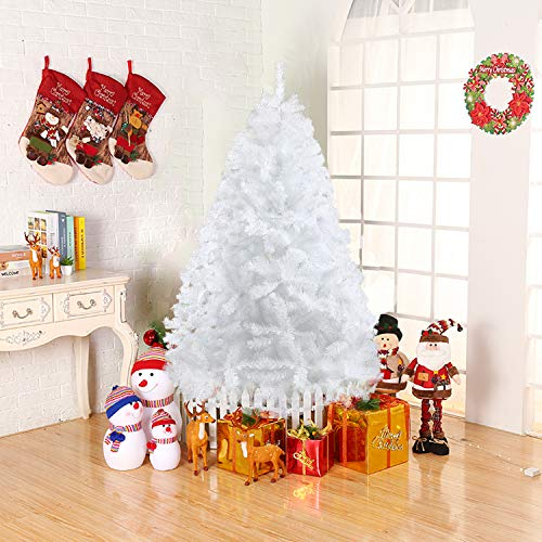 Dporticus 6 Foot Eco-Friendly Artificial Christmas Pine Tree with Solid Metal Legs 800 Tips Full Tree (White)