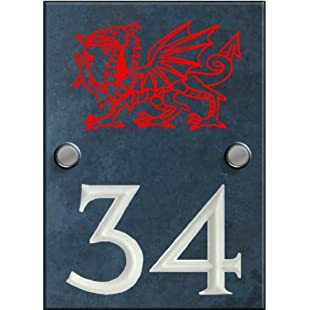 Engraved Slate House Number Sign with engraved Welsh Dragon - 140mm x 100mm:Interoot
