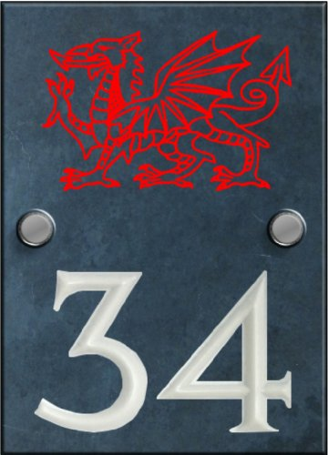 Engraved Slate House Number Sign Plaque with Hand Painted Motif - Dragon Motif
