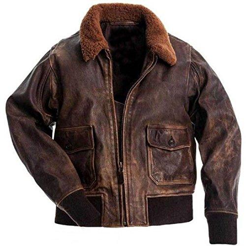LP-FACON Chaqueta de cuero marrón con cuello de aviador militar G1 para hombre