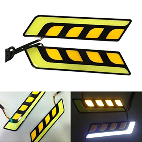 Quaant Car LED Light,Car Styling Car Accessories 2 PCS Daytime Running Lights COB LED Car DRL LED Light Bar Turn Signal Lights All In One Fog Lamps (Yellow)