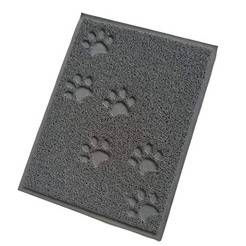 KongJies Alfombrilla de comida para mascotas, impermeable, antideslizante, para perros y gatos, color gris