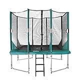 Etan Hi-Flyer Outdoor Trampolin Komplett mit starkem Sicherheitsnetz, UV-beständiges Randabdeckung & Leiter, Belastbarkeit 100 kg, 8 gepolsterten Stangen, Gartentrampolin Grün Rechteckig 310 x 232 cm