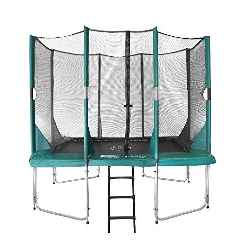 Etan Hi–Flyer Outdoor Trampolin mit starkem Sicherheitsnetz, UV-beständiges Randabdeckung & Leiter, Belastbarkeit 100 kg, 8 gepolsterten Stangen, Gartentrampolin Kinder – Grün – Rechteckig – 310 x 232 cm