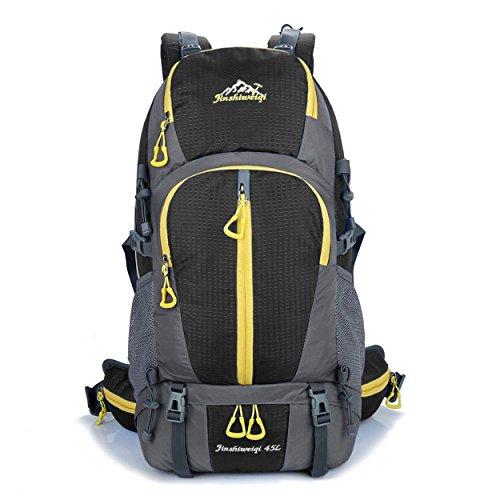 Sac à dos léger de voyage 45L nylon imperméable à l'eau sac d'alpinisme Pack randonnée à dos extérieur multifonction sport Bag H55 x L32 x T18 cm , black