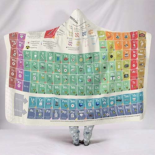 Tentenentent Neon Periodensystem de los elementos Manta con capucha Original Impresión Manta con mangas y capucha Fleece Cómodo Manta de piel – Ciencia Adecuado para White5 130 x 150 cm