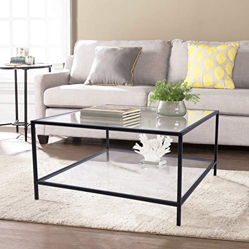 FURNITURE-R France Glass Coffee Table Rectangle Center Table Black Frame for Living Room Receiption Room