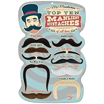 Mr Moustachio s Top 10 Manliest Mustaches of All Time Assortment,Black,One-Size