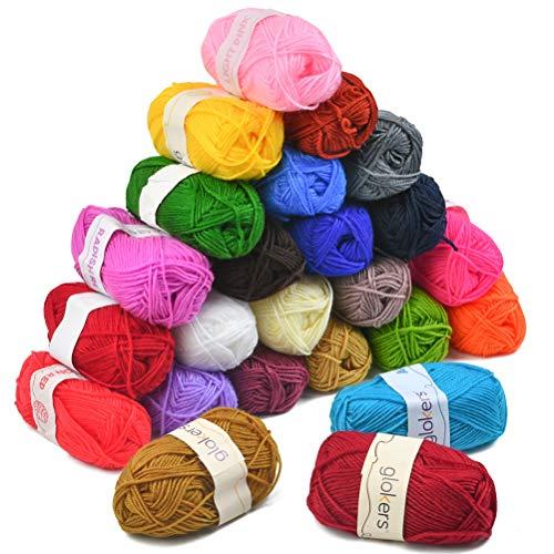 YANSHON Fil à Tricoter à La Main en 24 Couleurs, Fil au Crochet 25g pour Tricoter du Fil de Laine Acrylique, du Fil de Coton pour Le Crochet et Lartisanat