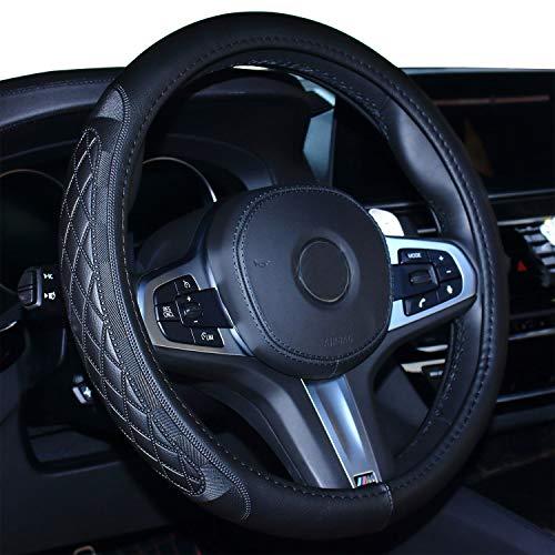 2019 Coole Auto Lenkradabdeckung Komfort Haltbarkeit Sicherheit für Männer (schwarz)