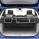 Backseat Trunk Organizer for SUV & Car - Hanging Organizer Foldable Cargo Storage Bag with 4 Pockets Adjustable Strap Durable Cover and Fit for Most Vehicles