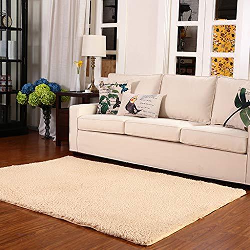 QFW Soft Fluffy Bedroom Rug Area Non-Slip Indoor Rugs Livingroom Dorm Kids Room Floor Carpet Home Decorative Mat(Color:Beige,Size:100200CM)