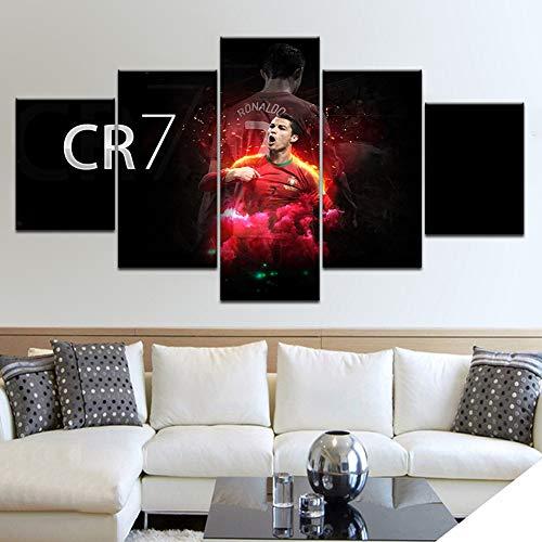 Segeltuch HD Wandkunst Modular Bild Moderne Dekoration 5 Stücke Sport CR7 Cristiano Ronaldo Gedruckt Jungs Zimmer Poster Rahmen,B,10×15×2+10×20×2+10×25×1