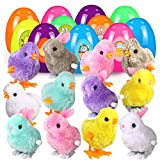 【Pacchetto】: il pacchetto include 12 uova di Pasqua riempite con 6 coniglietti e 6 galline, 2 fogli adesivi pasquali. I bambini possono condividere il pulcino con i loro amici, li aiuta a costruire amicizia. I classici giocattoli di Pasqua portano or...