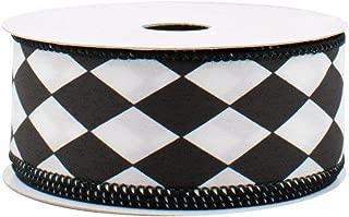 Black White Diamonds Harlequin Ribbon - 1 1/2